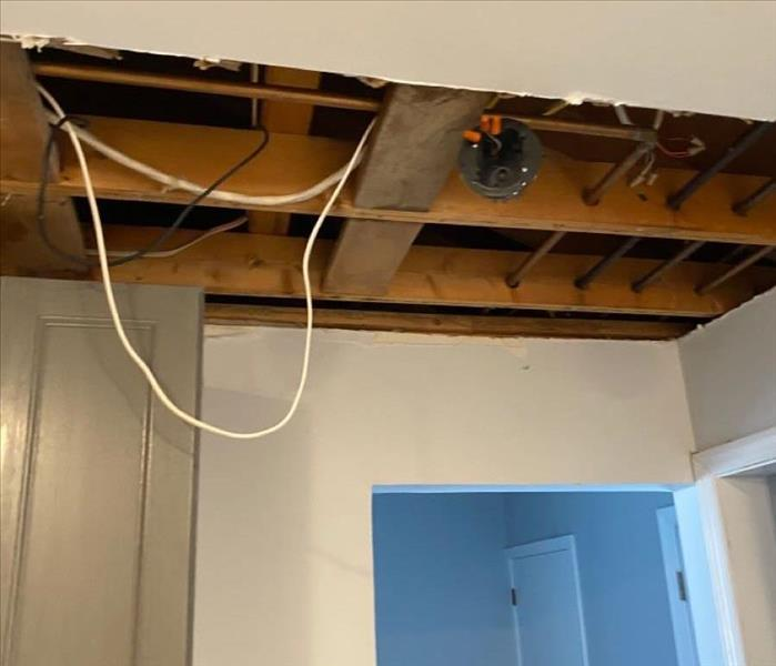 removed water damaged ceiling material