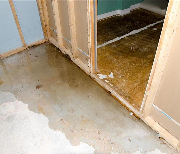 flooded basement flooring in a home